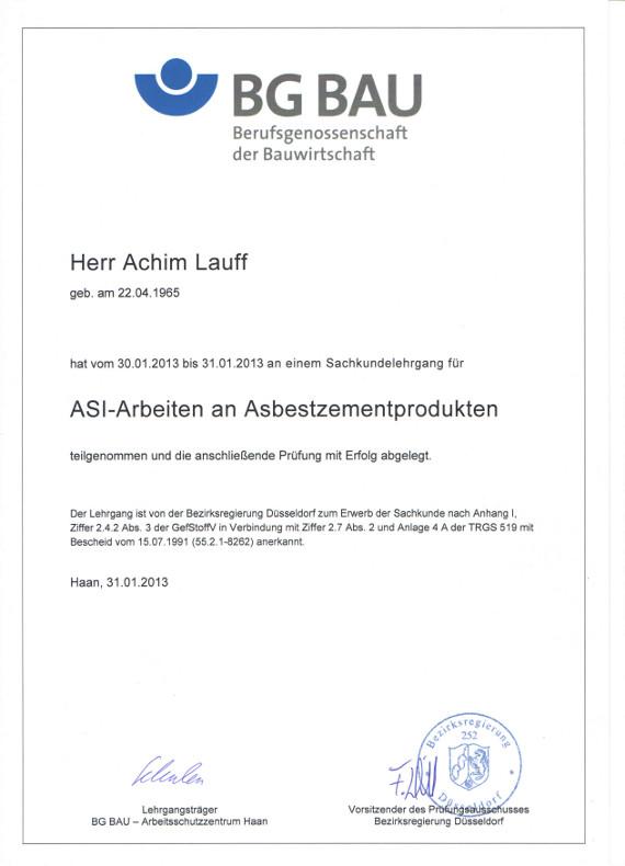 Asbestentsorgung Zertifikat